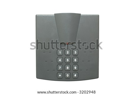 Security lock with keypad isolated on white - stock photo