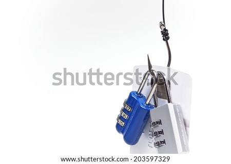 security lock with password and fish hooks on chained credit cards - phishing protection concept - stock photo