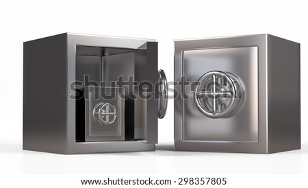 Security metal safe inside another safe model. - stock photo