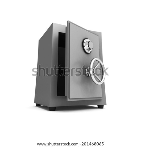 Security metal safe on white background. 3d render illustration