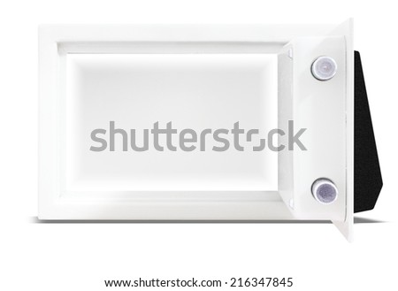 Security metal safe open door with empty space inside isolated on white background with clipping path - stock photo