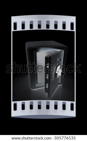 Security metal safe with empty space inside. The film strip