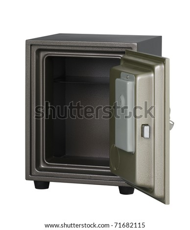 Security metal safe with empty space inside to put your idea or touching photo into it - stock photo