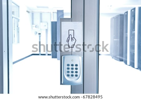 security of computer server room - blue tone - stock photo