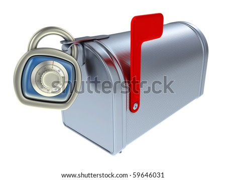Security of mailbox. Mailbox and padlock with combination code.