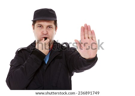 security officer making the stop sign. white  background - stock photo