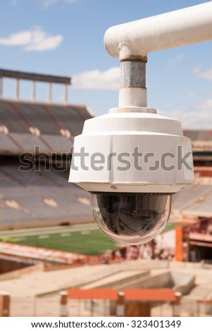 Security officers can keep an eye on things remotely from this camera - stock photo