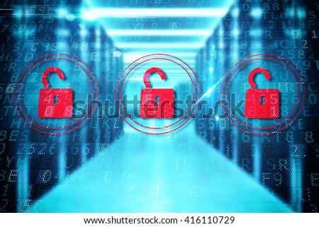 Security open padlock - stock photo