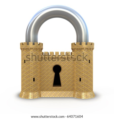 Security padlock - stock photo