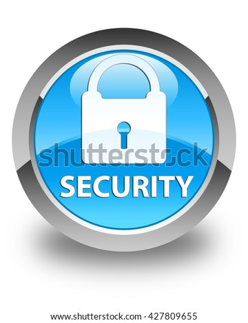 Security (padlock icon) glossy cyan blue round button