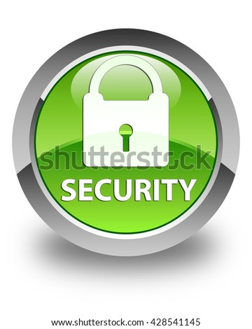 Security (padlock icon) glossy green round button