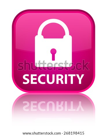 Security (padlock icon) pink square button - stock photo