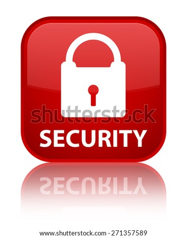 Security (padlock icon) red square button - stock photo