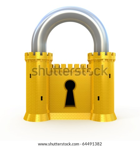 Security padlock isolated on white - stock photo
