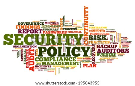 Security policy  in word tag cloud on white - stock photo