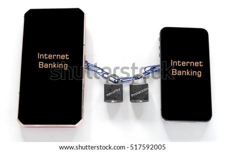 security protection for internet banking concept. two mobile phone with the padllocks