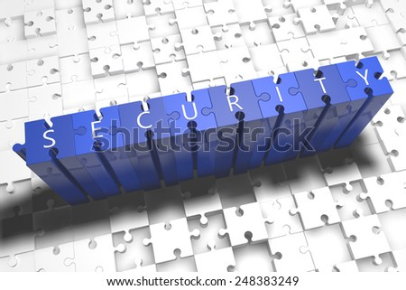 Security - puzzle 3d render illustration with block letters on blue jigsaw pieces  - stock photo