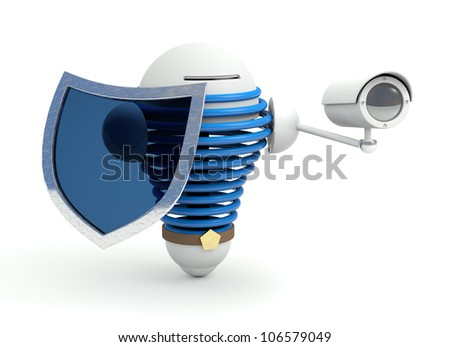 Security robot with protection shield and cam - stock photo