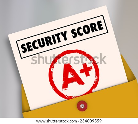 Security Score words on a report card rating your safety and crime prevention in software network precautions and home safeguarding - stock photo
