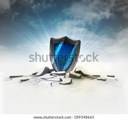 security shield stuck into ground with flare and sky illustration - stock photo
