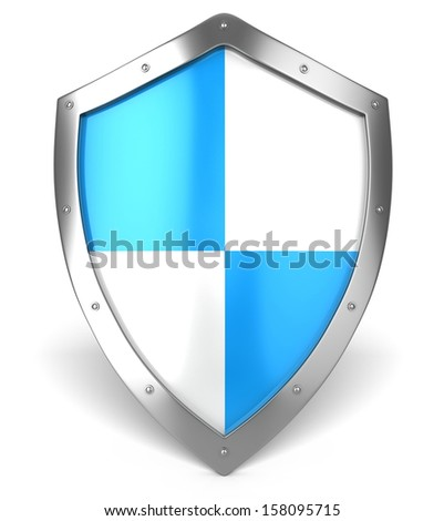 Security silver steel shield . Protection concept - stock photo