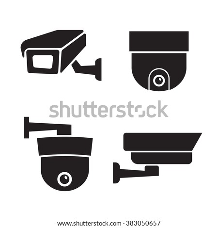 Security Surveillance Camera Cctv Icons Set Stock Illustration