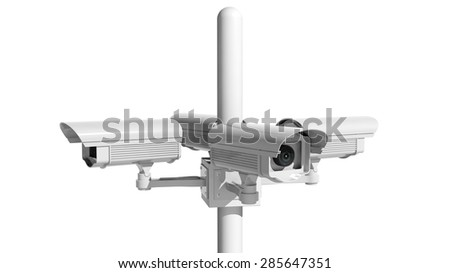 Security surveillance camera isolated on white background