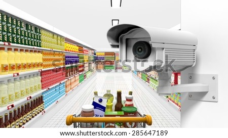 Security surveillance camera with supermarket interior as background - stock photo