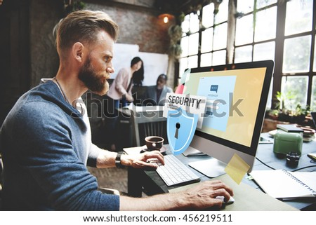 Security System Access Password Data Network Surveillance Concept - stock photo