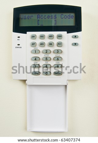 Security system requiring  to enter access code - stock photo