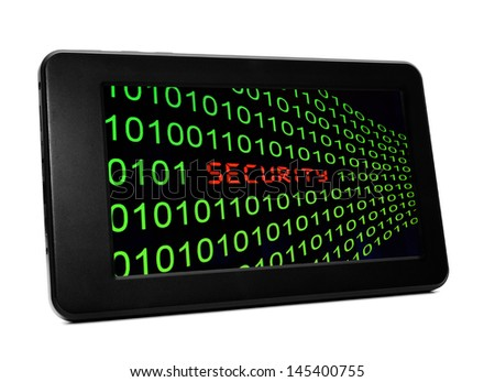 Security text on pc tablet - stock photo