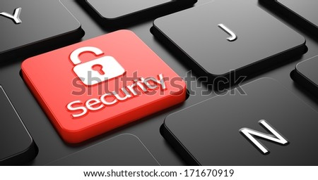 Security Text with Padlock Icon - Red Button on Black Computer Keyboard.