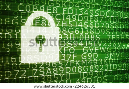Security Threat on a Network with Moving Data - stock photo