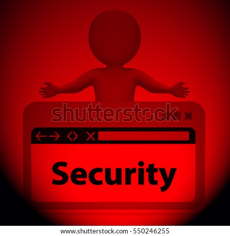 Security Webpage Character Meaning Privacy Private 3d Rendering