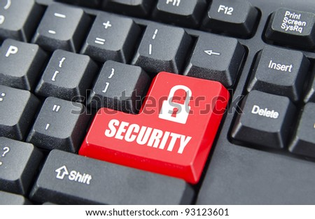 Security with logo on red keyboard button. - stock photo