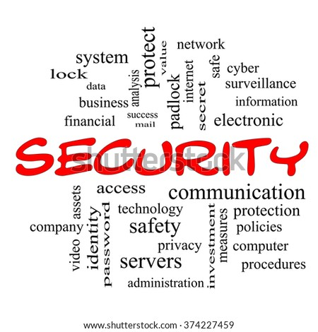 Security Word Cloud Concept in red caps with great terms such as access, safety, computer and more.
