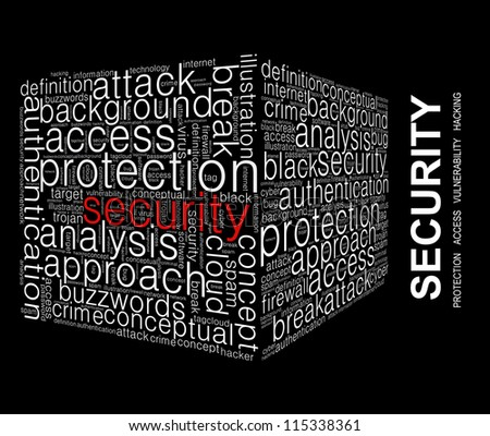 Security Word collage on black background - stock photo