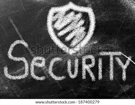 Security word on chalkboard - stock photo