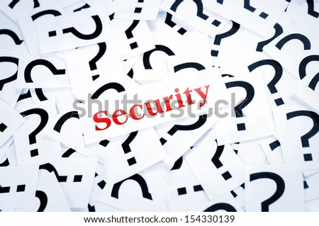Security word on question mark background