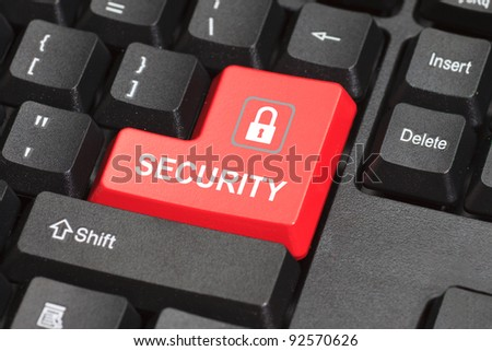 security word with icon on red and black keyboard button - stock photo