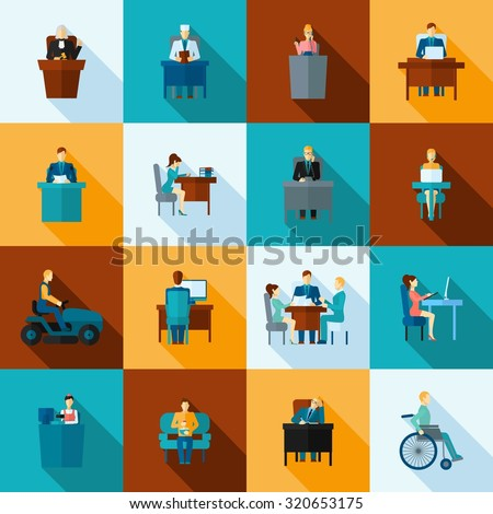 Sedentary lifestyle low mobility work and living icon flat set isolated  illustration - stock photo