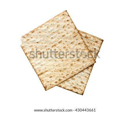 Seder concept. Matzoh isolated on white background with clipping path - stock photo