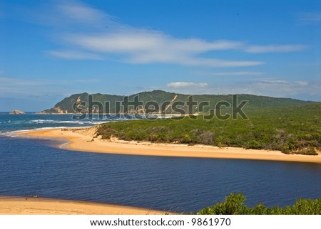 Sedgefield River Mouth lies in the heart of the Garden Route in South Africa - stock photo