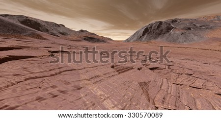 Sedimentary layered rock in dried-up Martian lake-bed - stock photo
