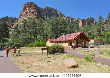 SEDONA, AZ - JUNE 20: Slide Rock State Park in Sedona, AZ on June 20.2016. One of the most beautiful parks in Arizona, and many people visit every year.