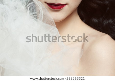 Seductive decollete concept. Portrait of beautiful brunette. Natural hairstyle, perfect make-up. White veil decoration. Healthy hair. Close up. Burlesque style. Studio shot - stock photo