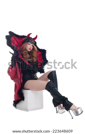 Seductive female devil, isolated on white