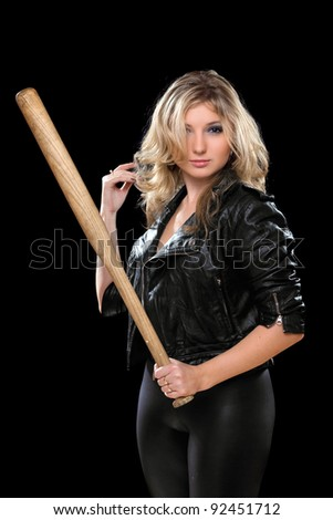 Seductive young blonde with a bat in their hands. Isolated - stock photo
