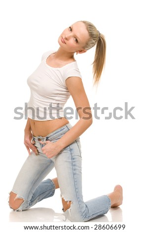 seductive young woman on a white background - stock photo