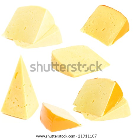 See a collection of 6 pieces of cheese. Small size.